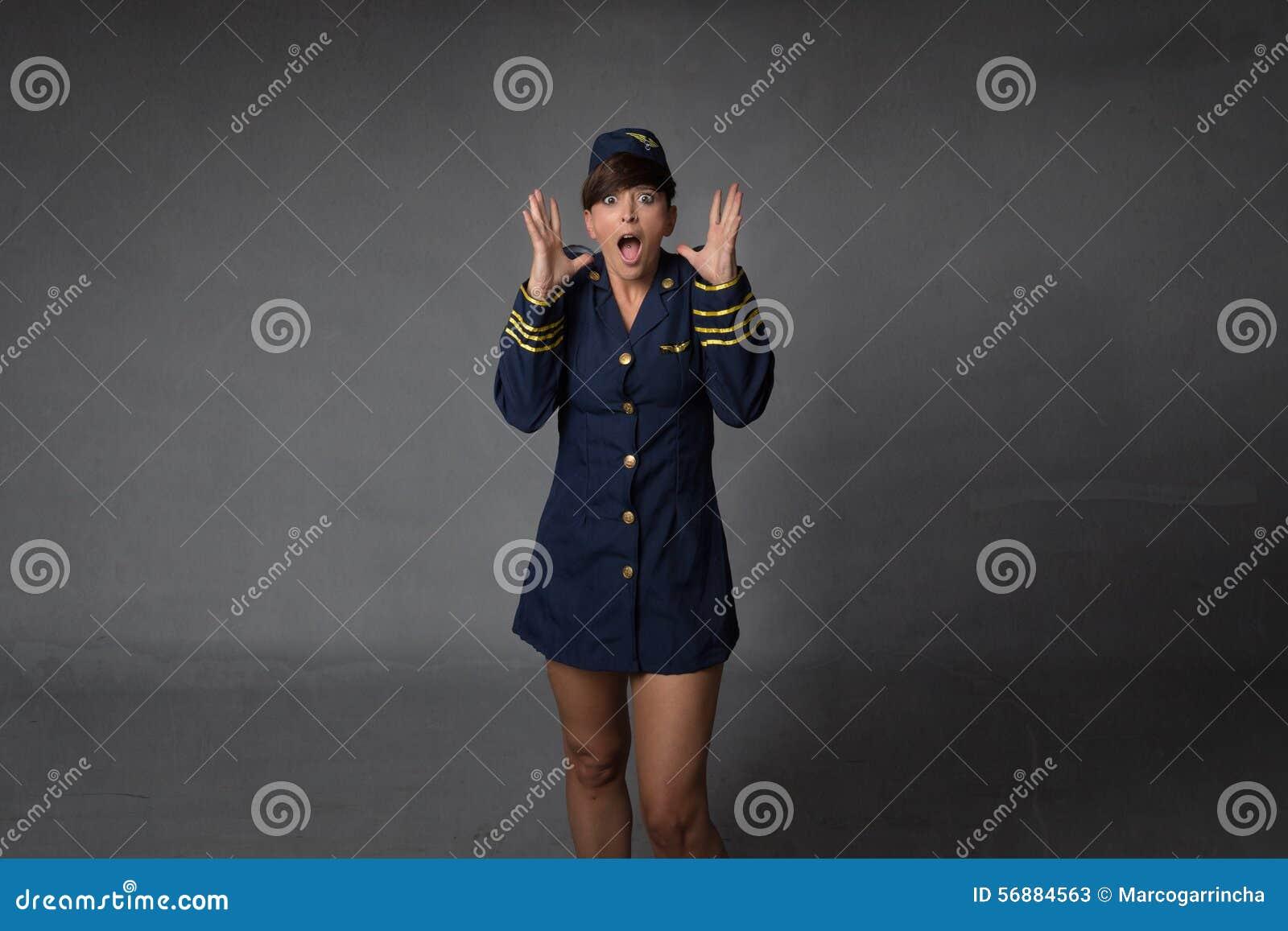 Air hostess screaming