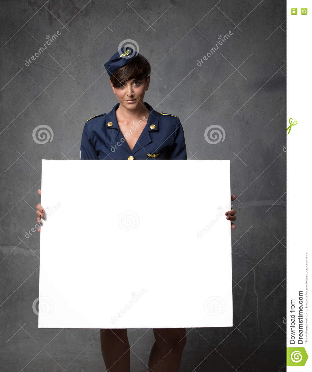 Air hostess with white empty board on hand