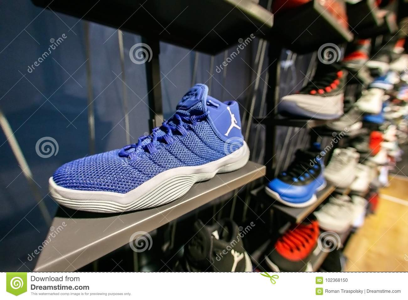 new product 60b44 f15ce New York, October 20, 2017  Assortment of Air Jordan sneakers on sale in  the NBA store in Manhattan.
