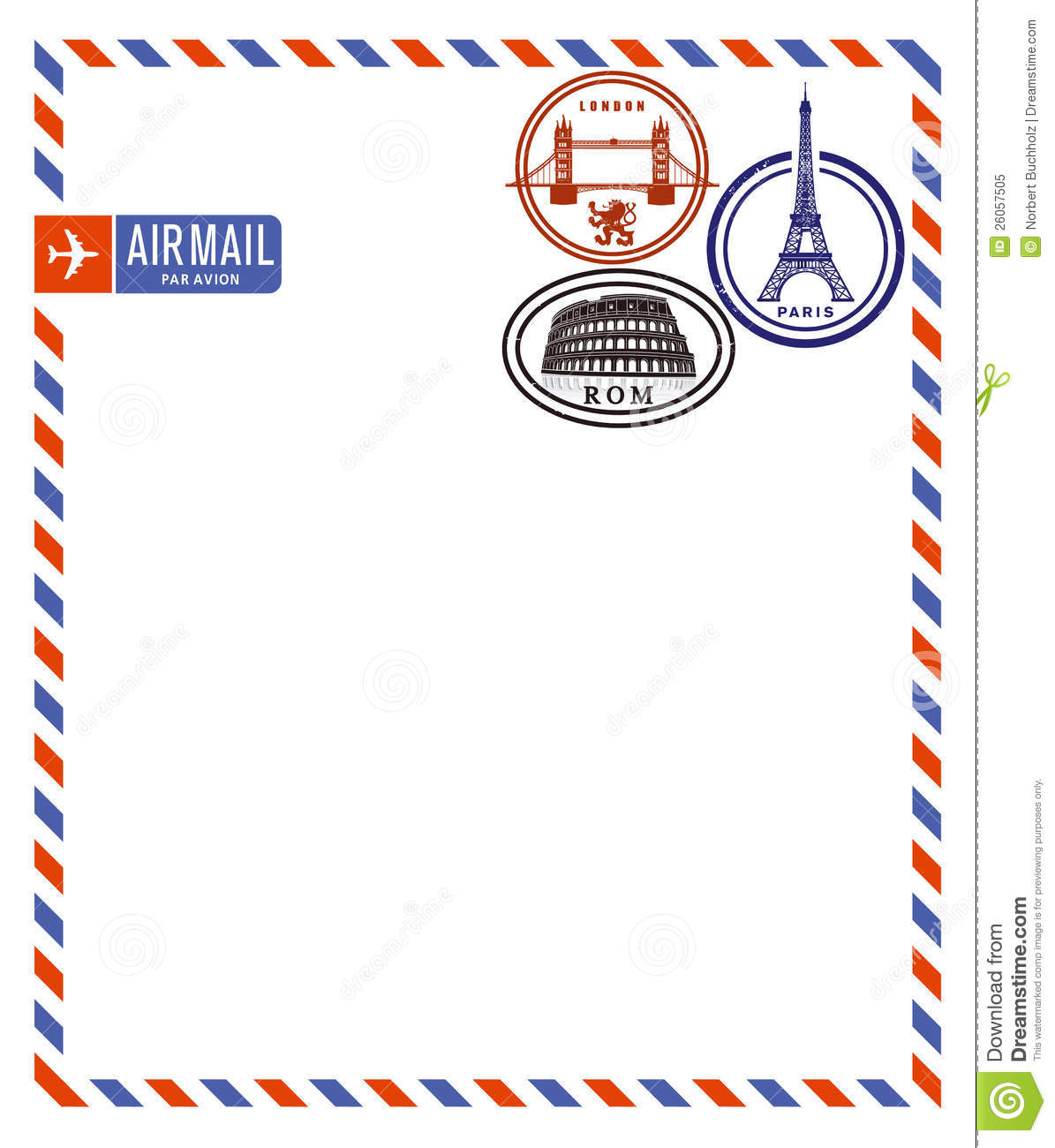 Air mail envelope and postage stamps from London, Paris and Rome.