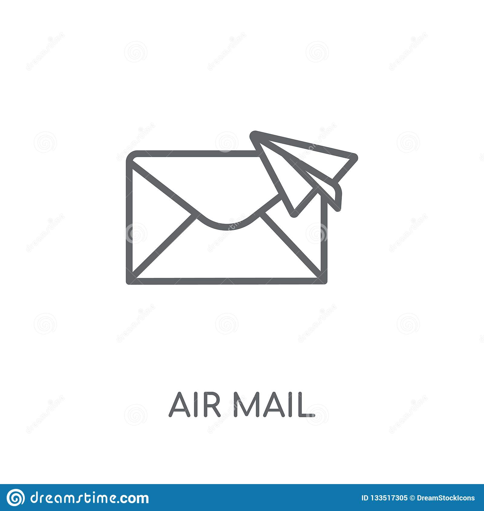 Air mail linear icon. Modern outline Air mail logo concept on wh