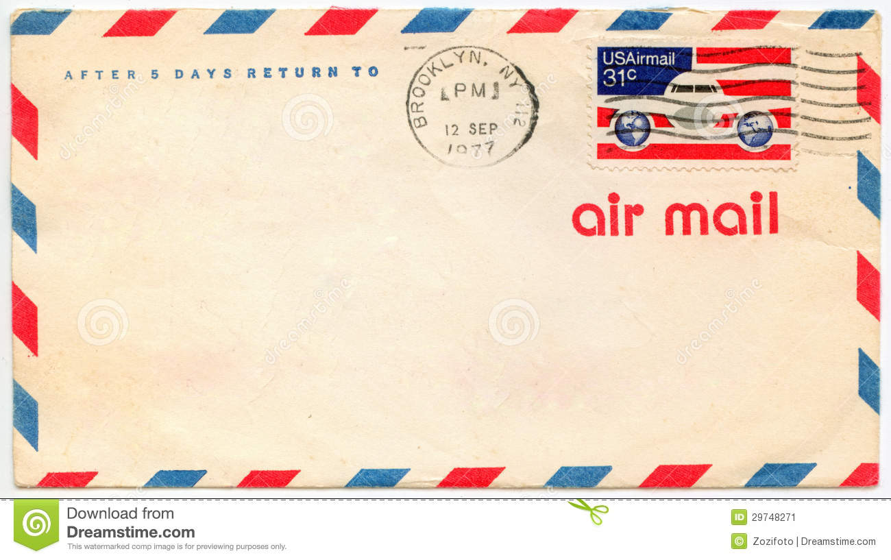 Old Airmail Envelop Stock Image - Image: 29748271