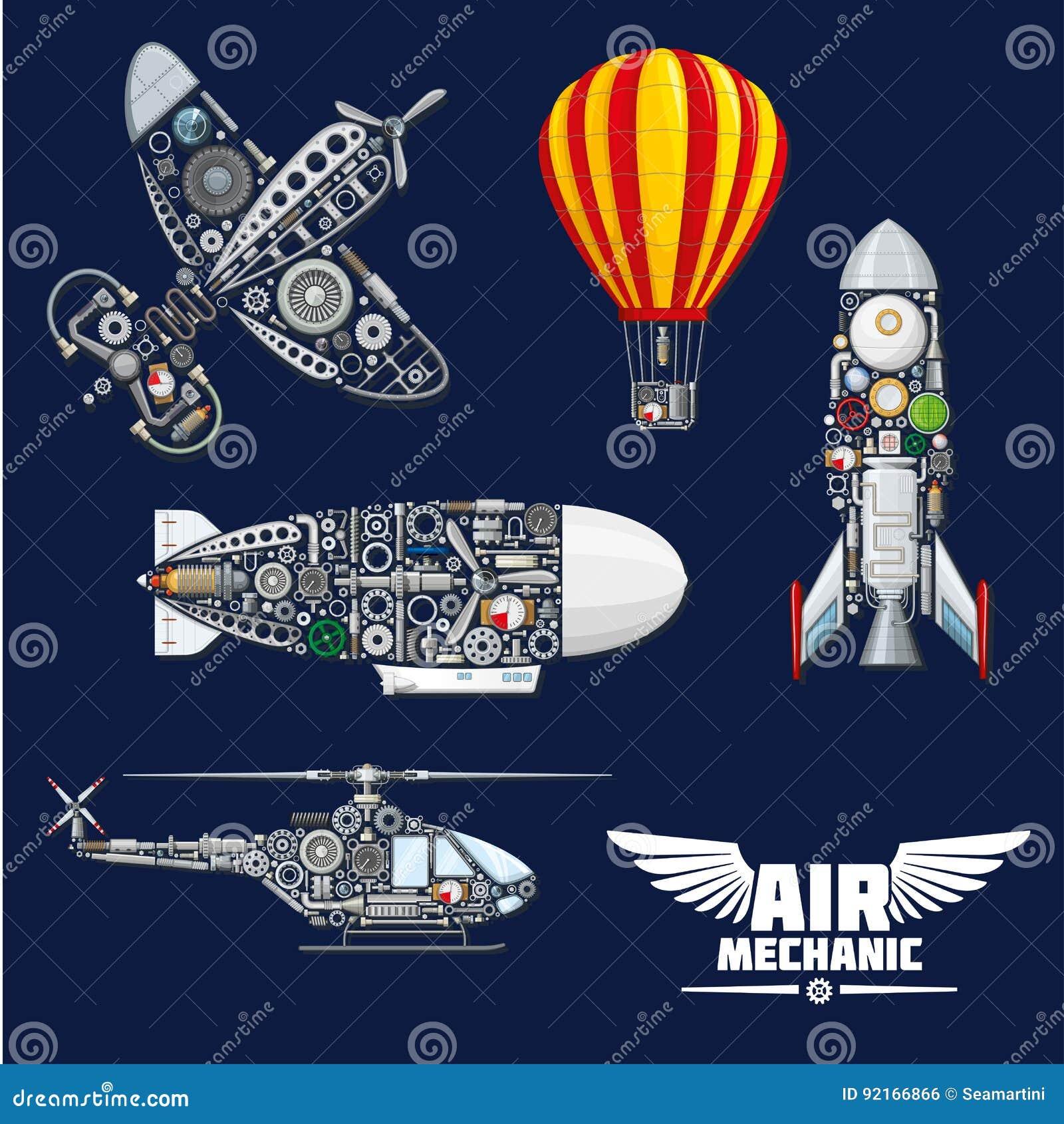 Air mechanics and mechanisms vector icons set