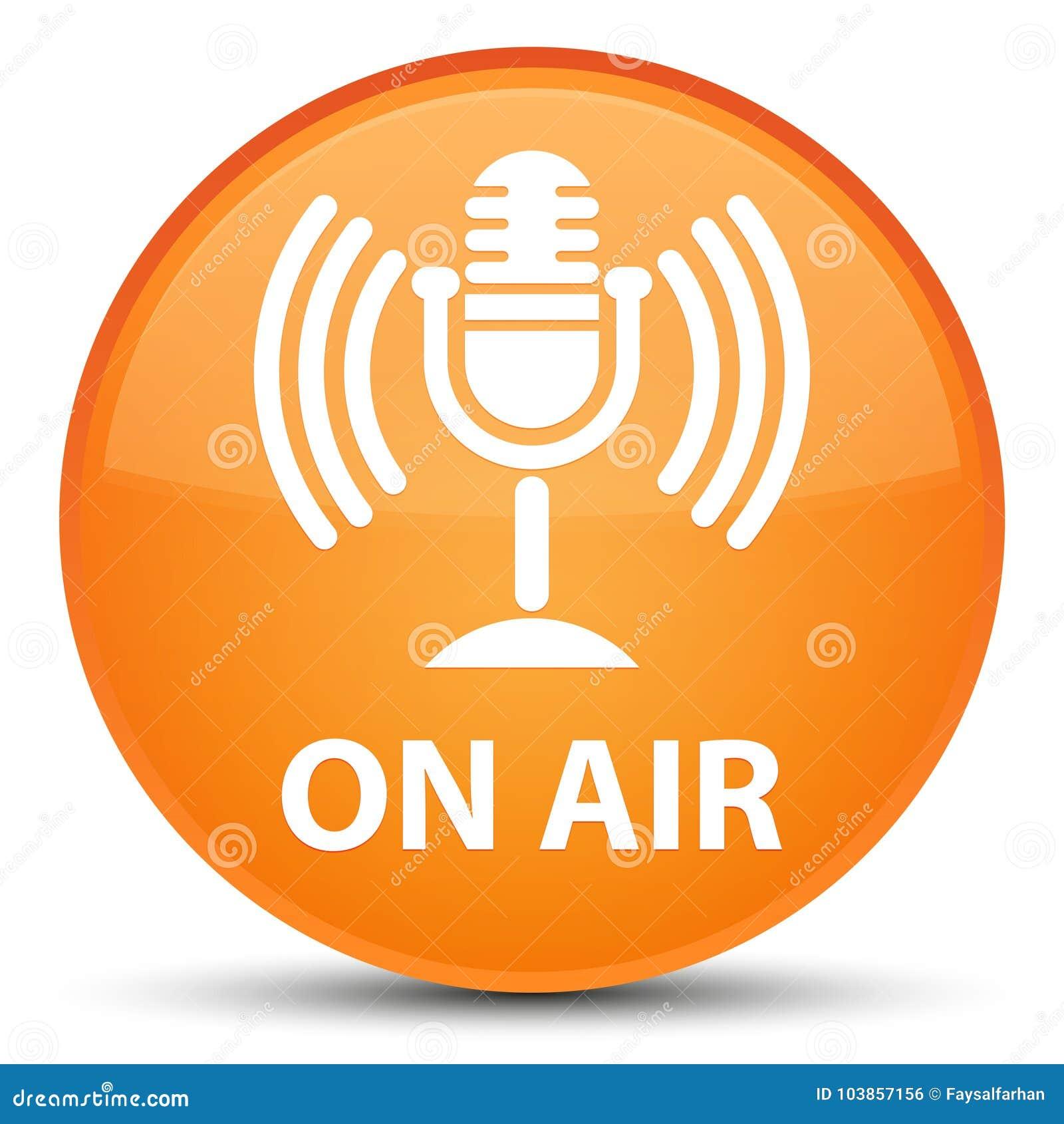 On Air Mic Icon Special Orange Round Button Stock Illustration
