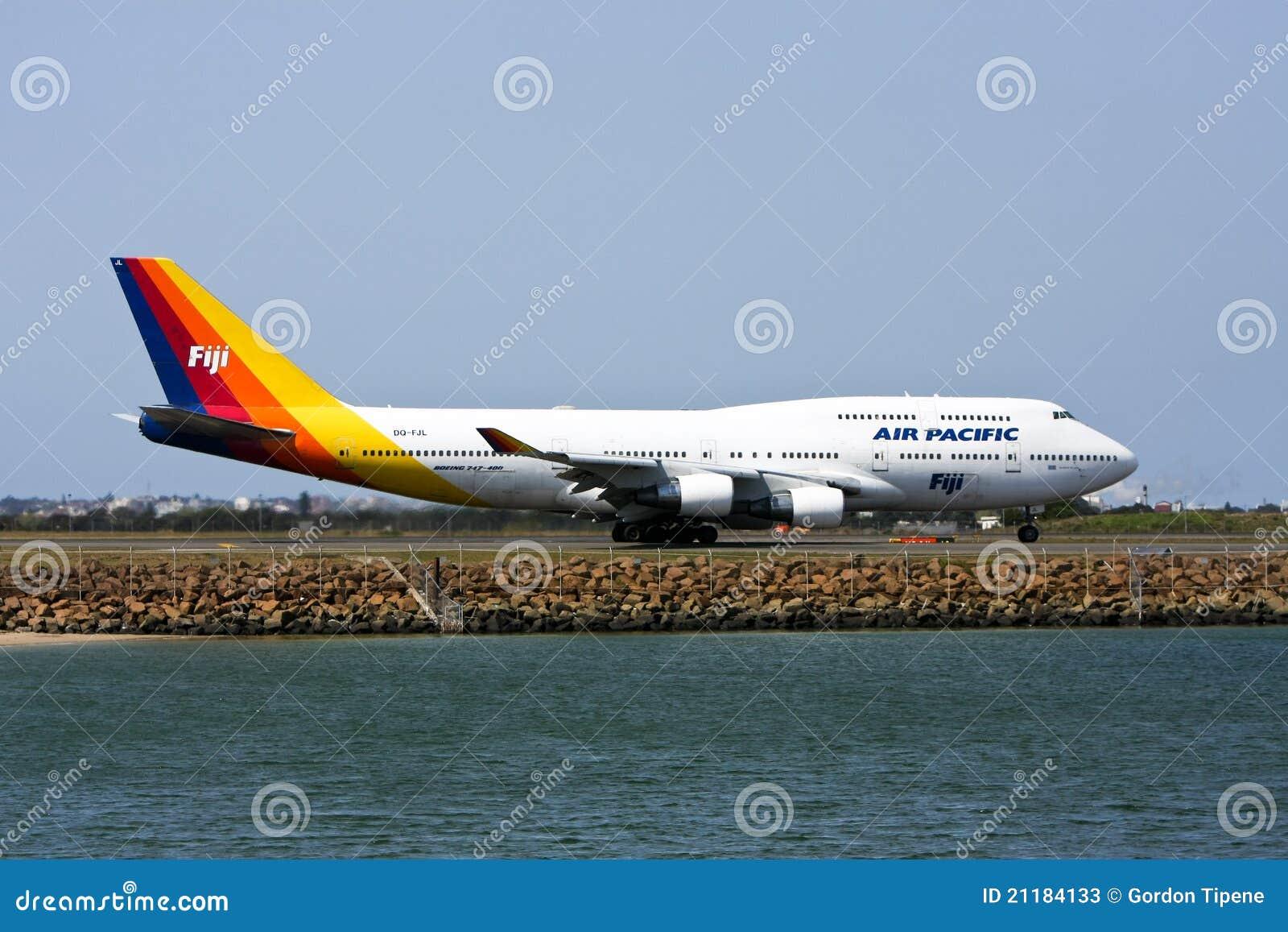 Air Pacific Boeing 747 jet on runway