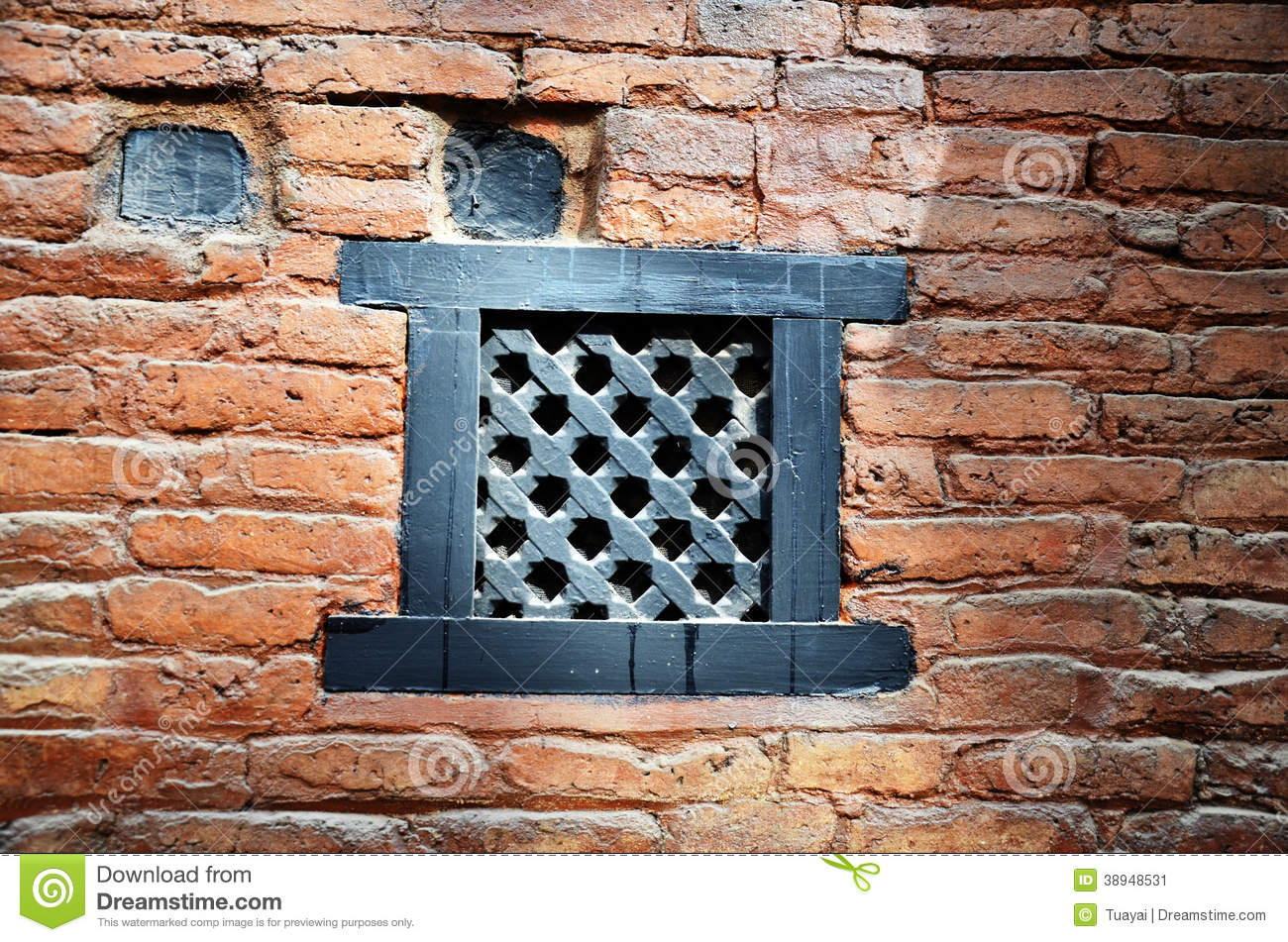Air passage on brick wall nepal style at nepal stock photo for Brick architecture styles