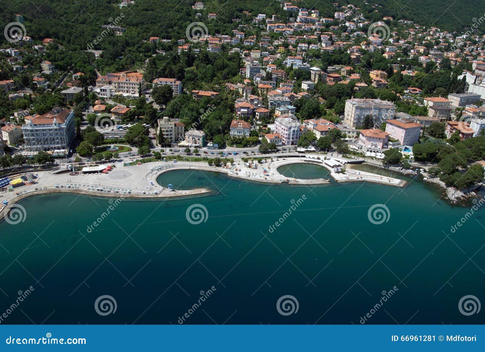 Air photo of opatija city center on adriatic sea in for Design hotel opatija croatia