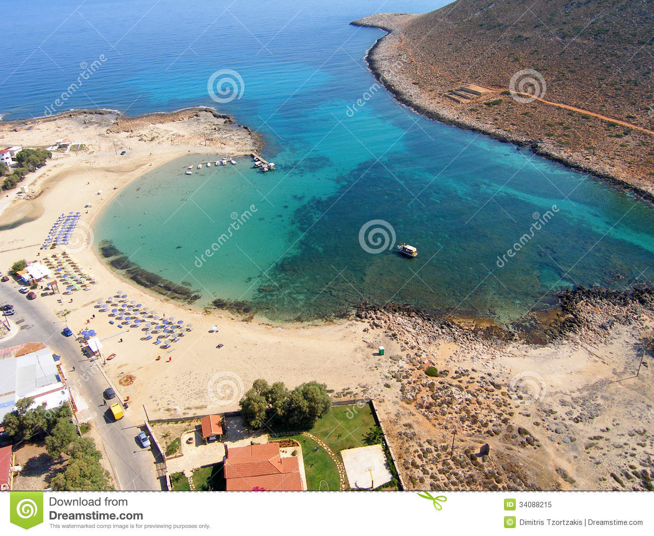 Royalty Free Stock Photo: Air photograph, Stavros Beach, Chania, Crete ...