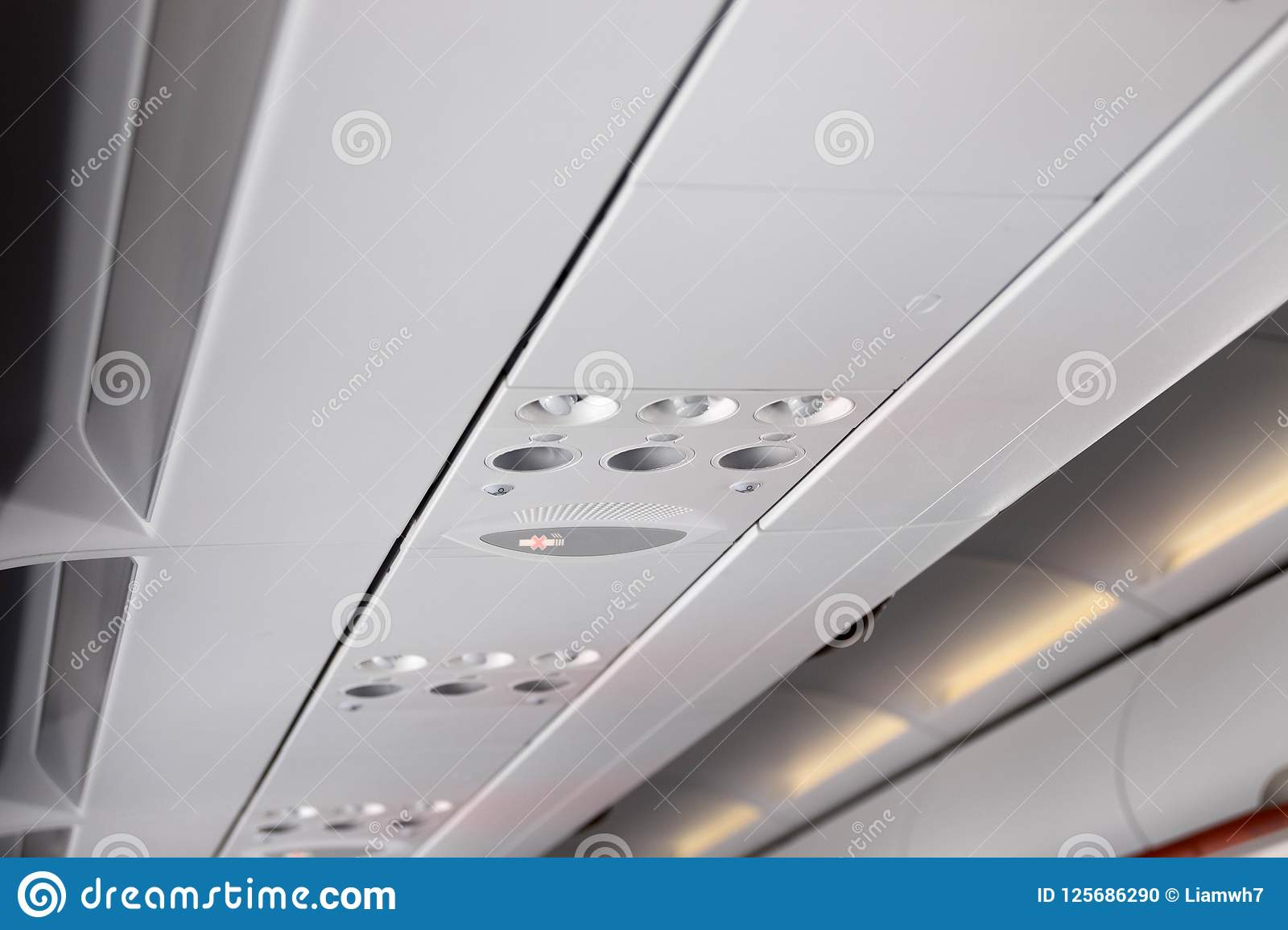 air plane air conditioner cold light stock photo image of interior