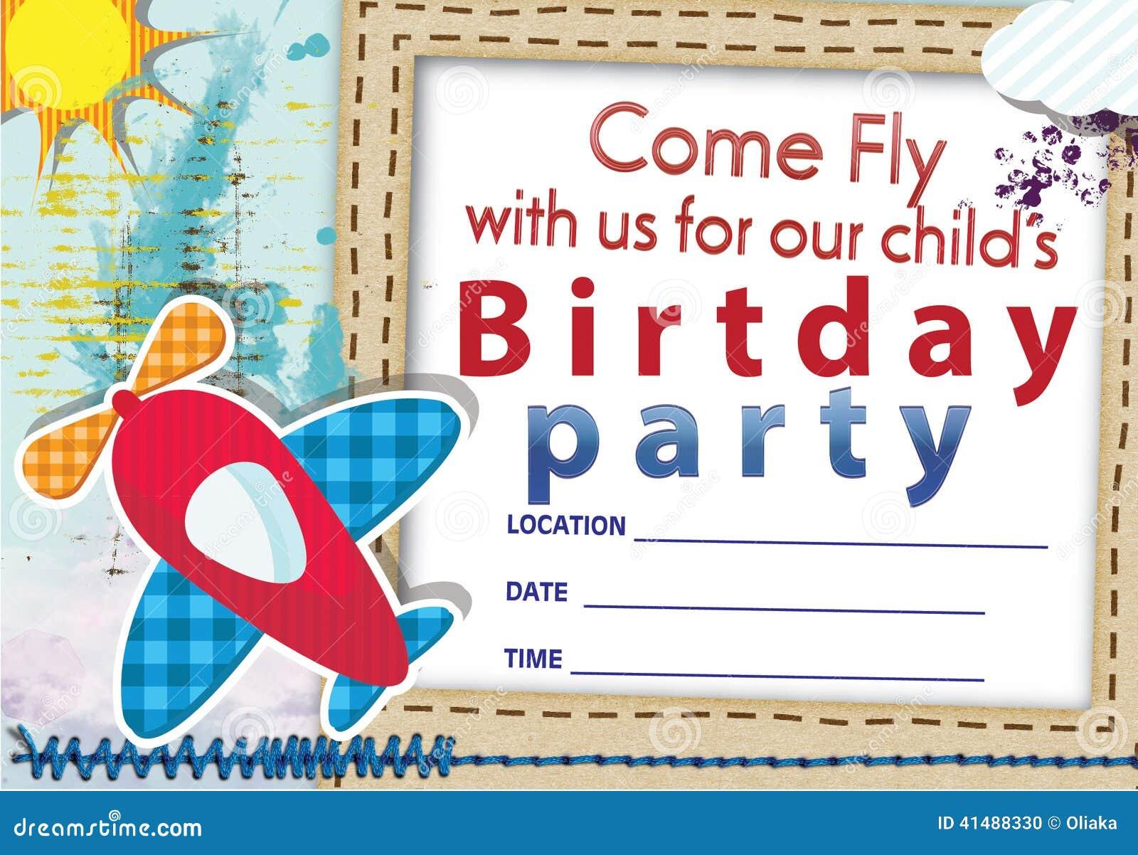 Air Plane Birthday Invitation No 1 Stock Illustration - Illustration ...