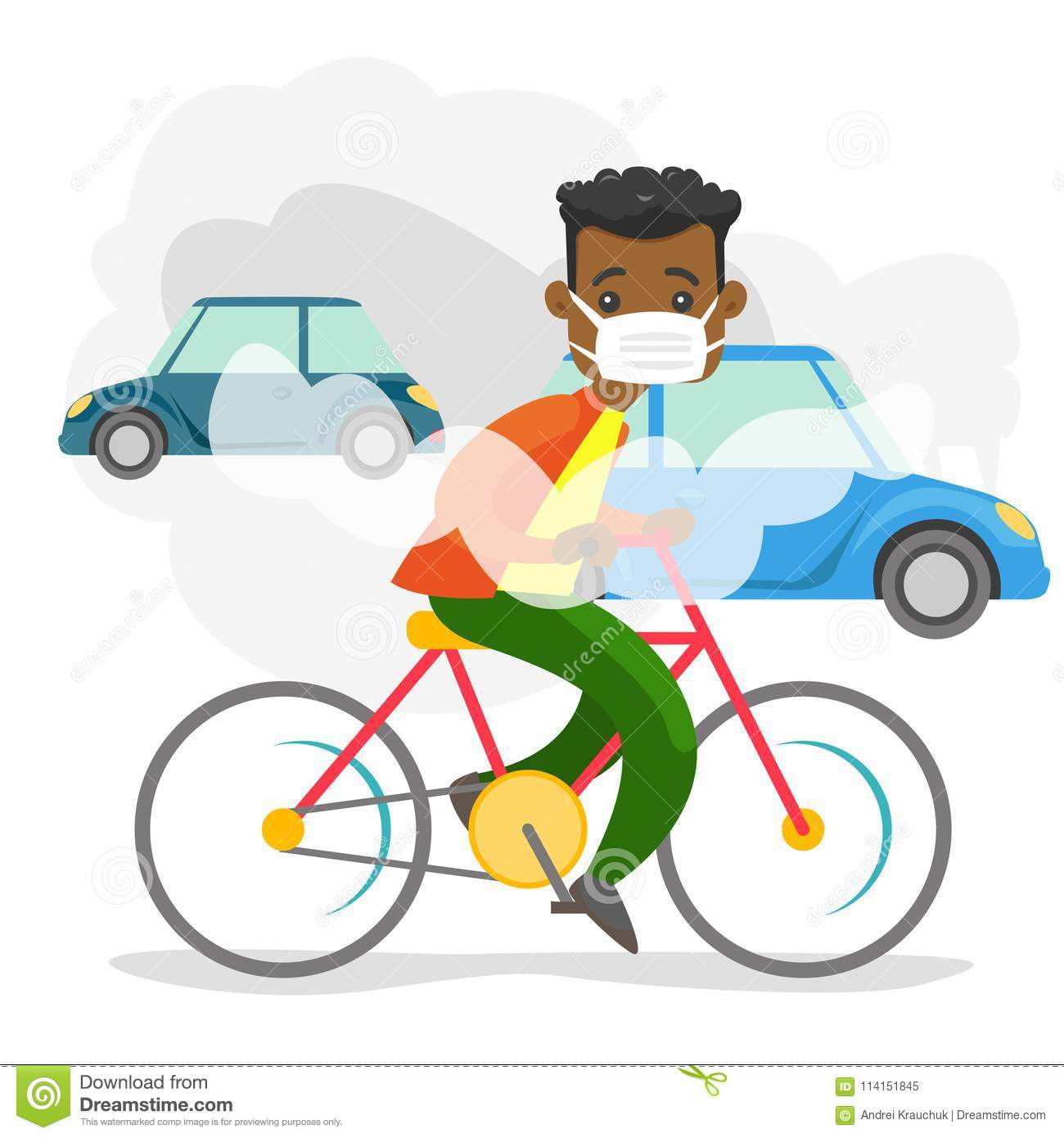 Air Pollution Caused By Co2 Emissions From Cars Stock Vector