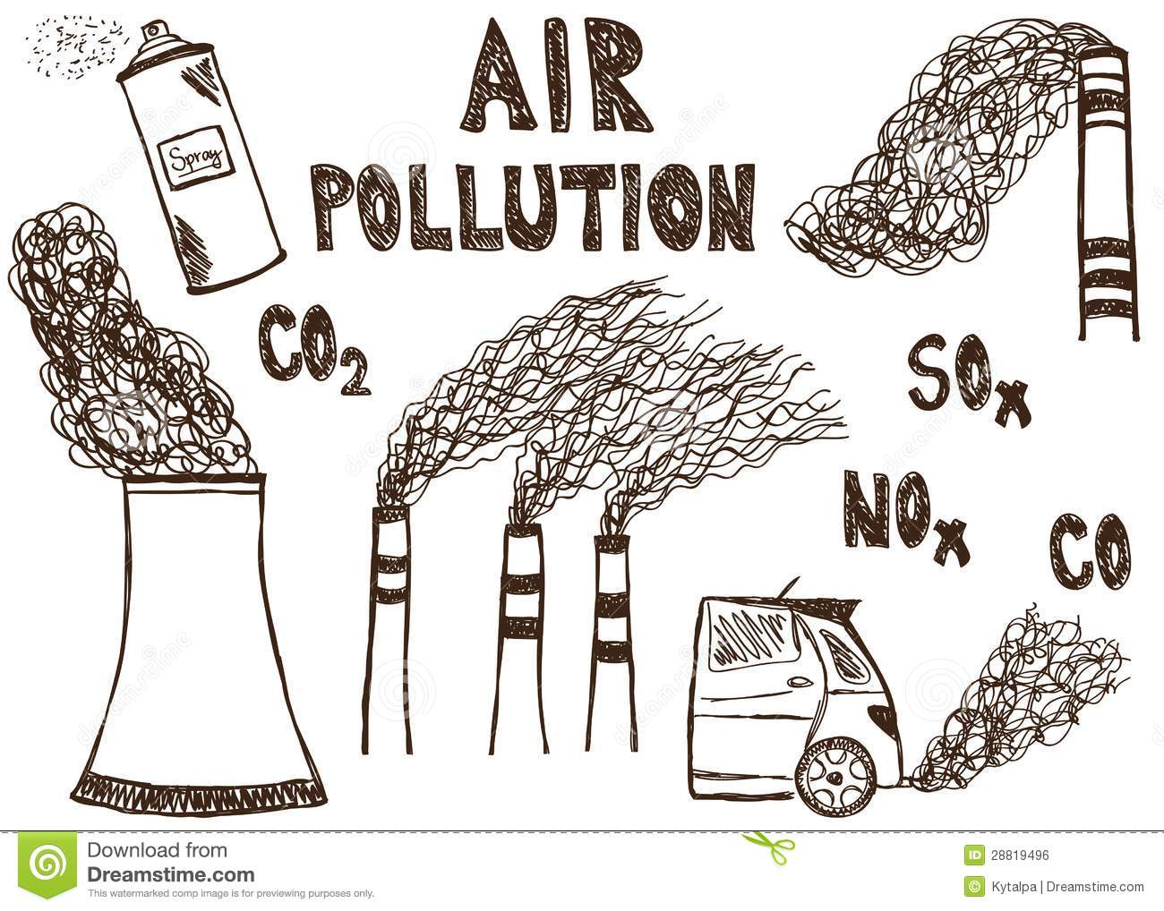 Air Pollution Doodle Royalty Free Stock Image - Image: 28819496