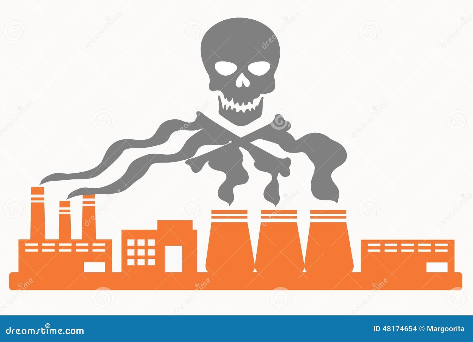 Air Pollution Skull : Air pollution stock vector illustration of flat
