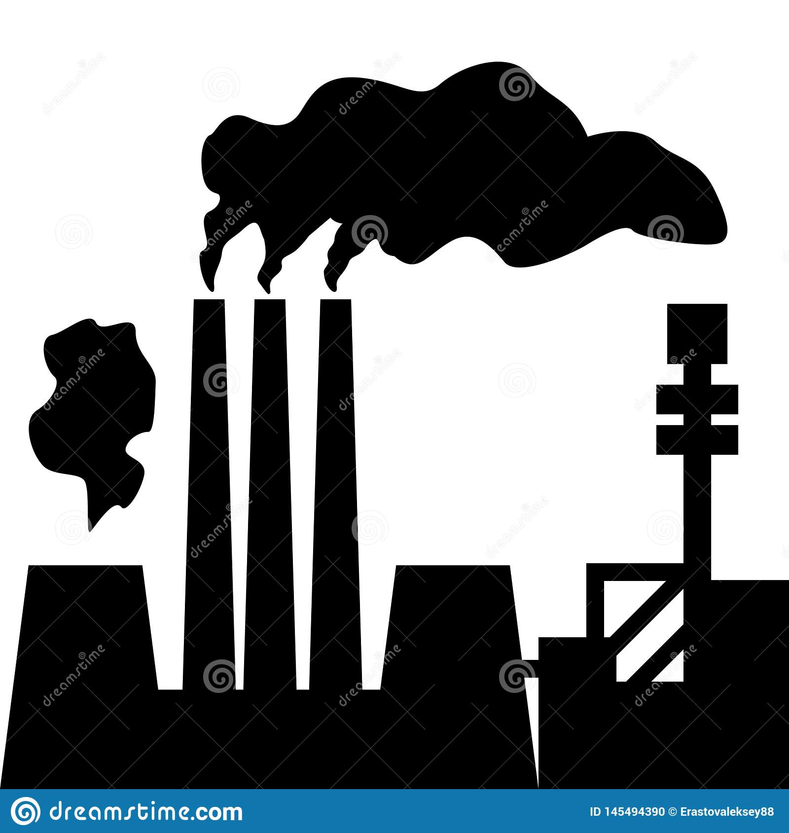 Air pollution. Silhouette of factory with smoking chimneys. Vector illustration.