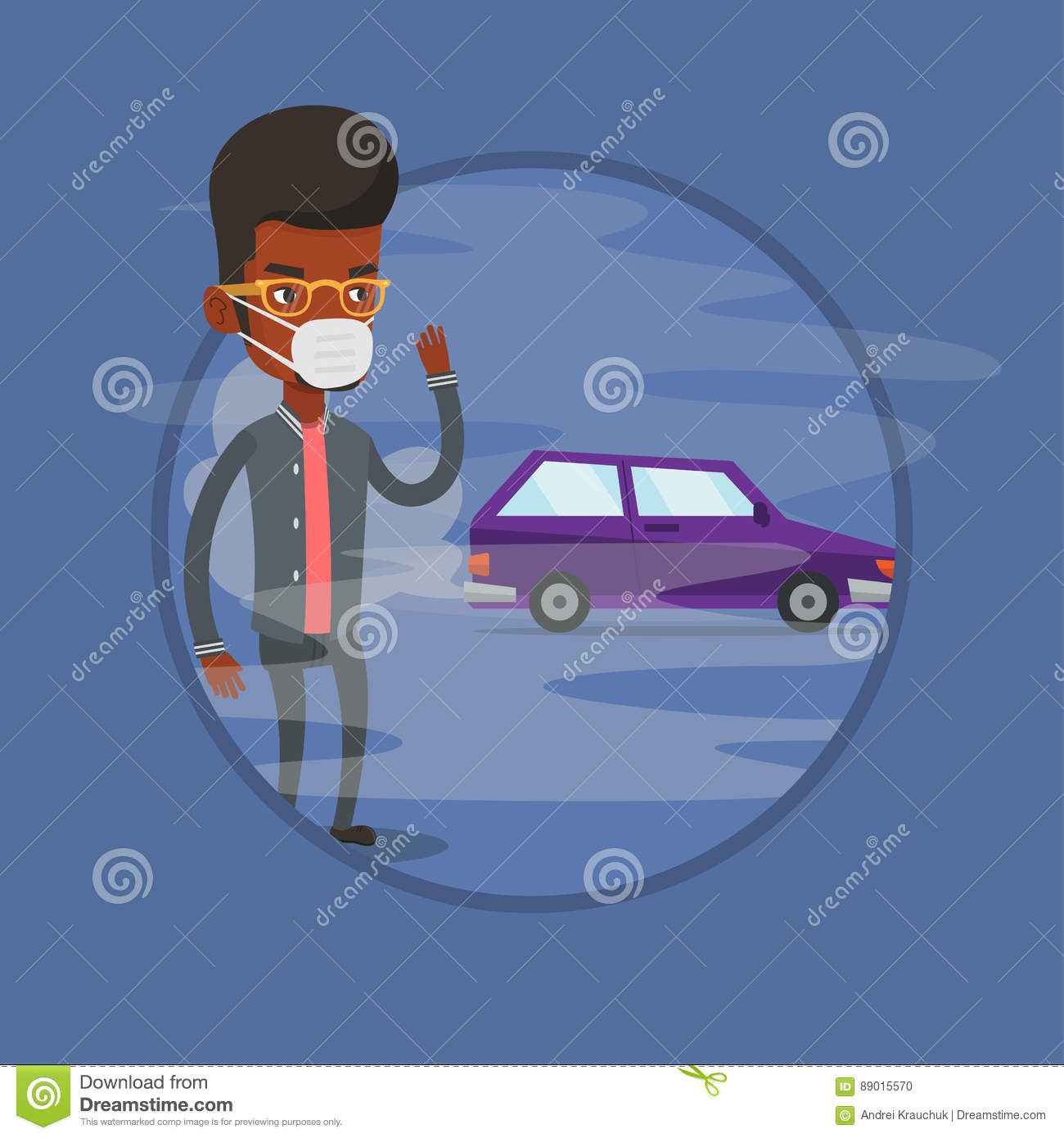 Air Pollution From Vehicle Exhaust. Stock Vector