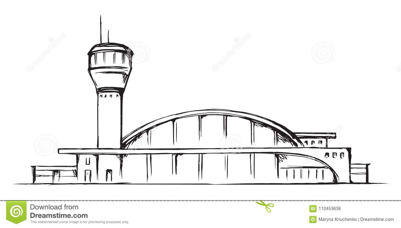 Airport Building Vector Drawing Stock Vector