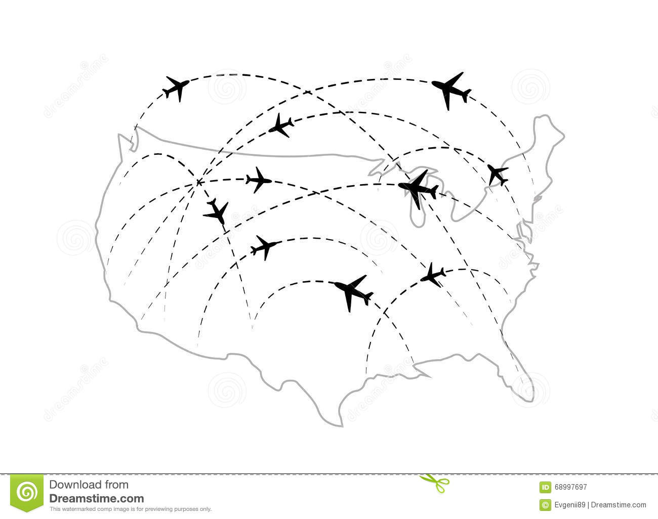 Usa Map Black.Air Routes With Black Plane Icons On Usa Map Stock Illustration