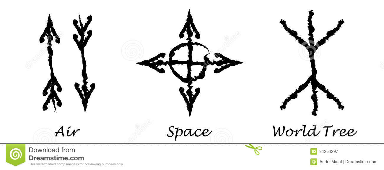 Air  Space  World Tree  Alchemy Vector Icons  Slavic Amulets Symbols