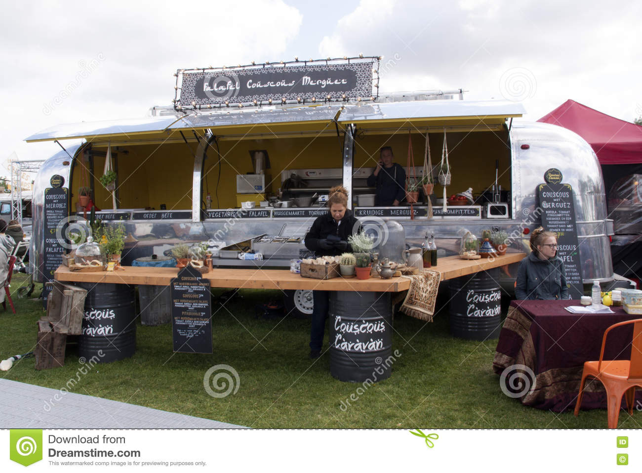 air stream caravan food truck selling cous cous editorial photography image 71448477. Black Bedroom Furniture Sets. Home Design Ideas