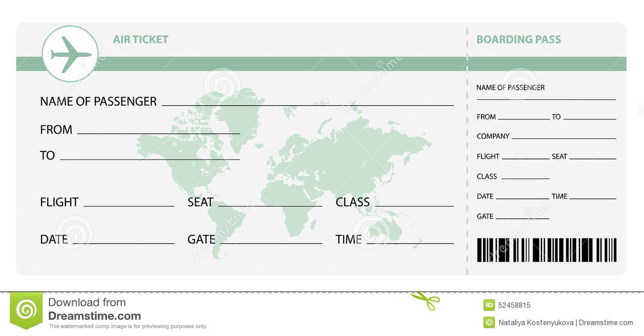 Air Ticket Stock Vector Image 52458815