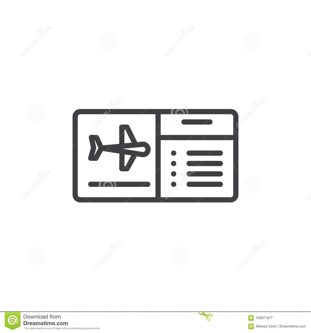 Download Air Ticket Outline Icon Stock Vector Illustration Of Single