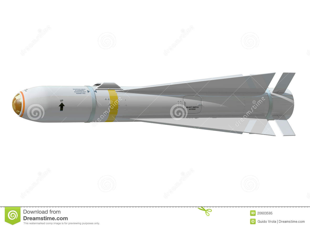 Air-to-ground missile stock illustration. Illustration of green