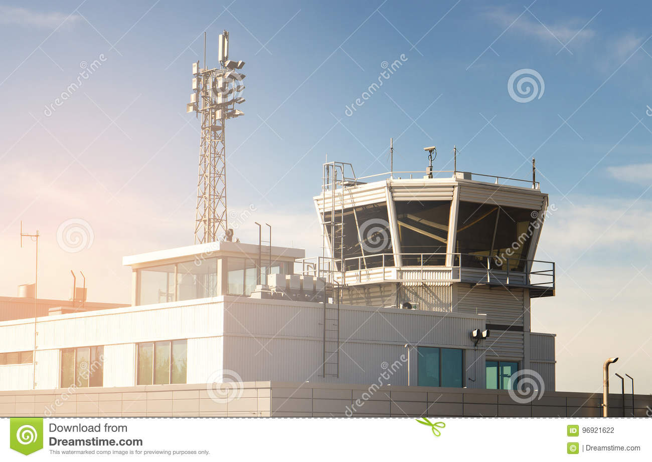 Air traffic control building and tower in a small airport.