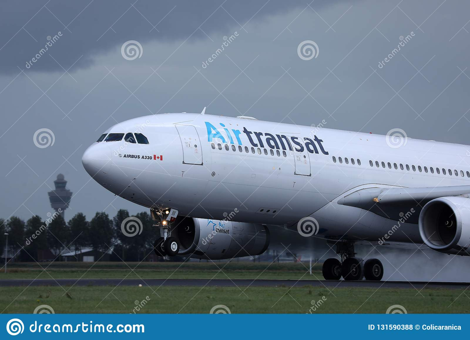 Air Transat jet landing on the runway
