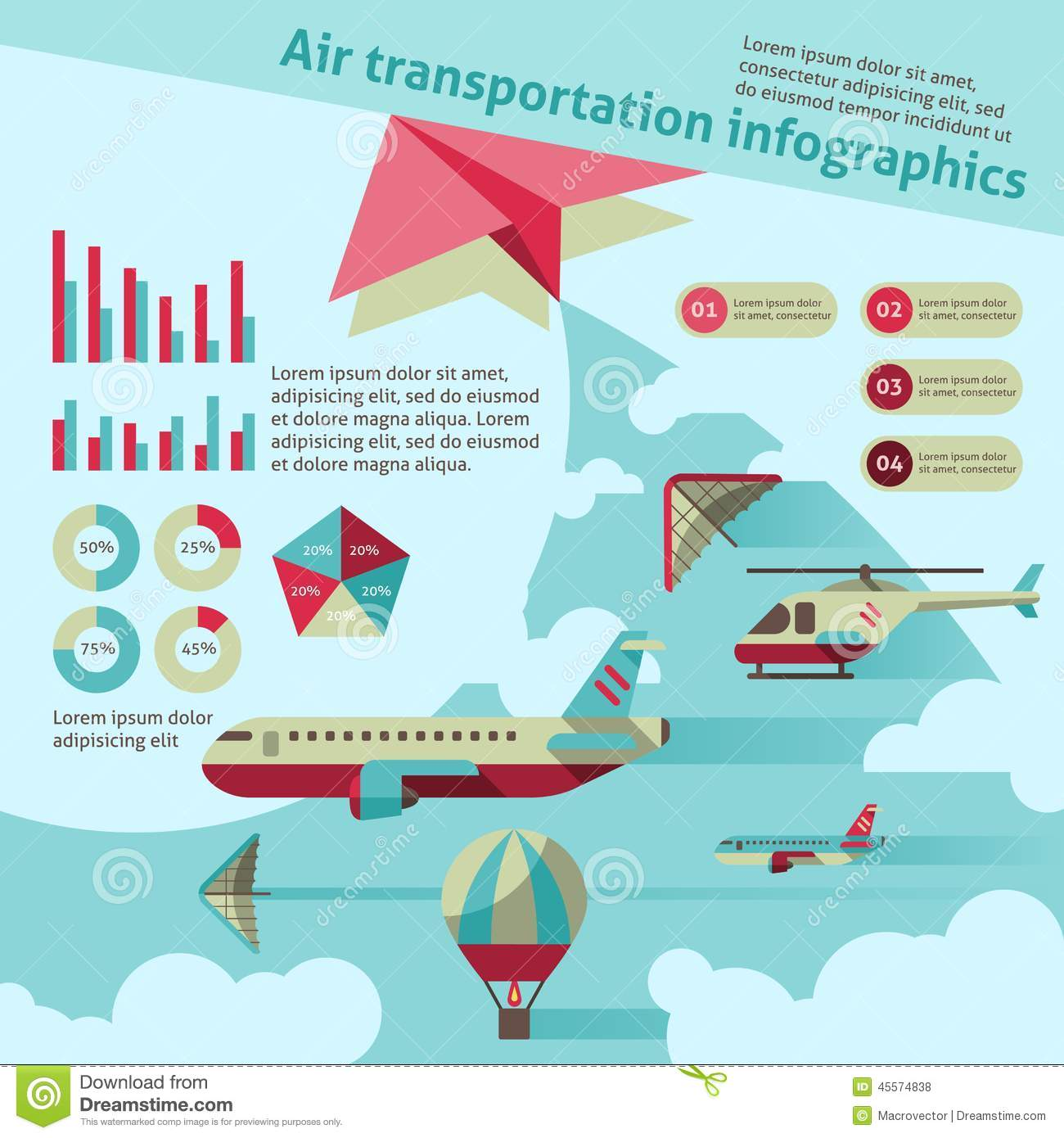 Air transport infographic stock vector. Image of business ...