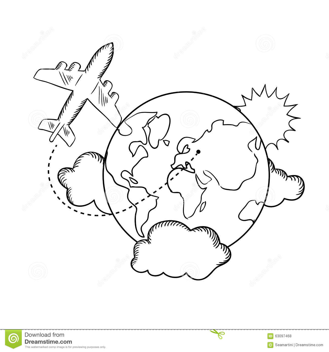 Air Travel Around The Earth Sketch
