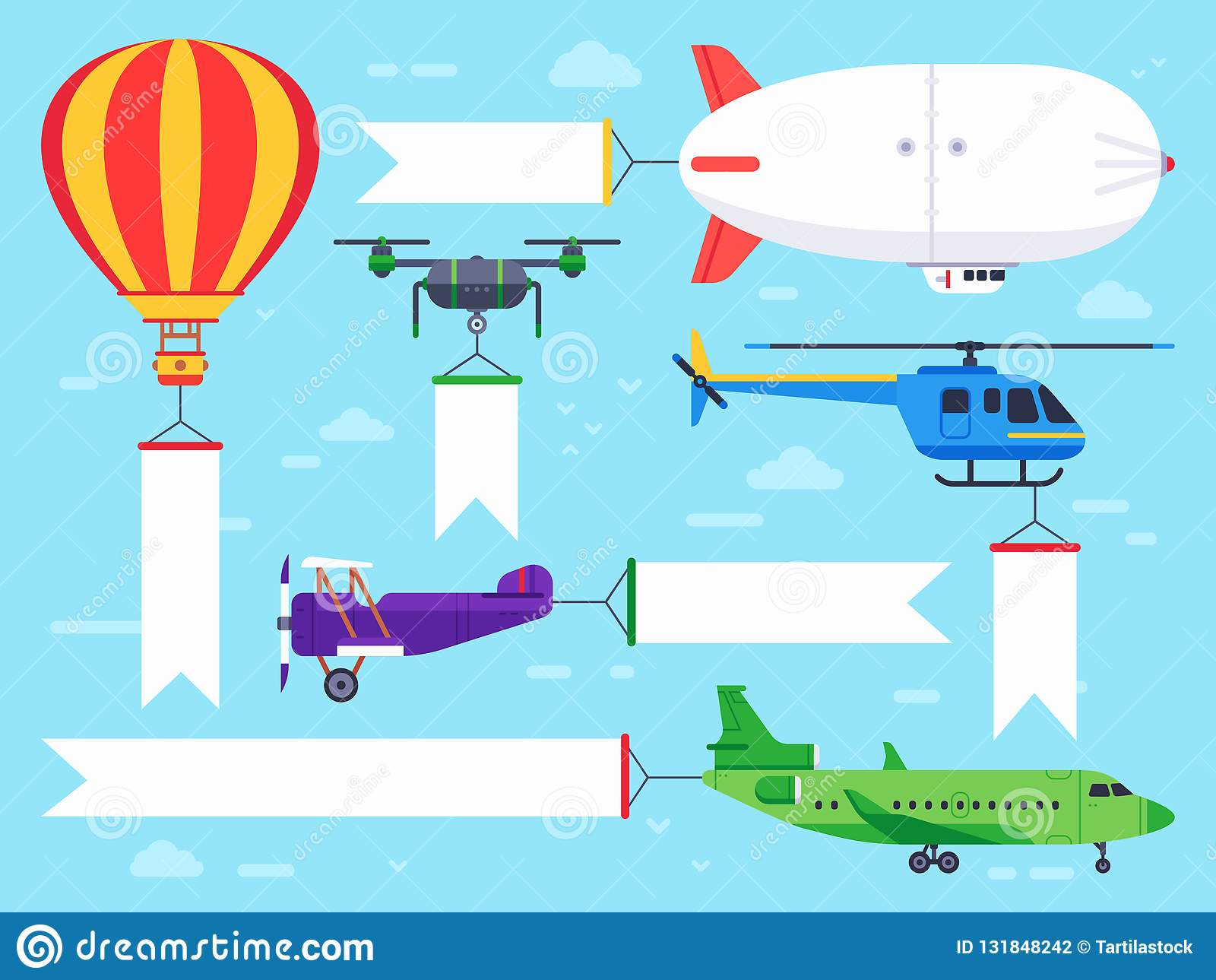 Air vehicles banner. Flying helicopter sign, airplane banner message and vintage zeppelin ad flat vector illustration