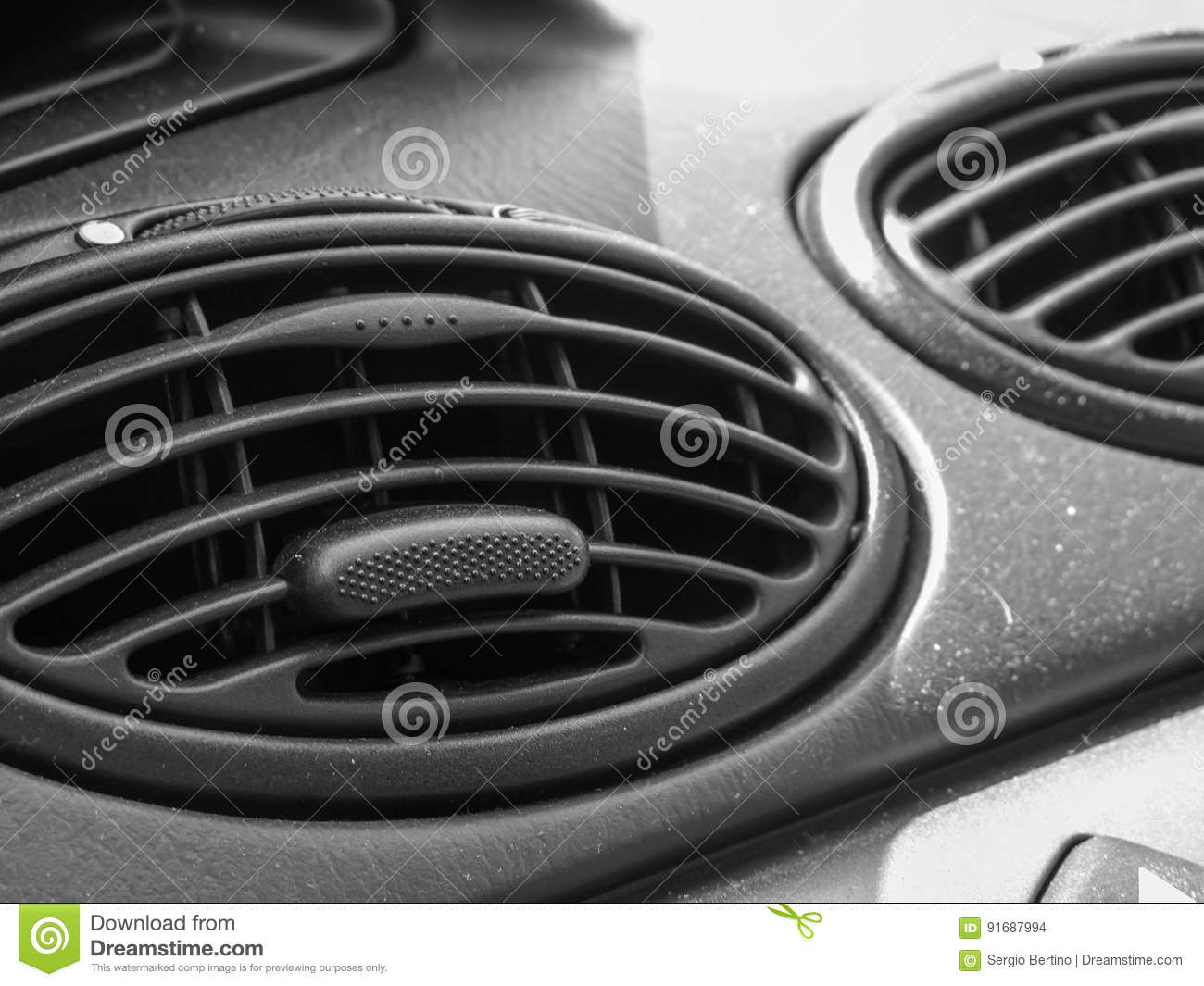 Air vents on the dashboard of a car