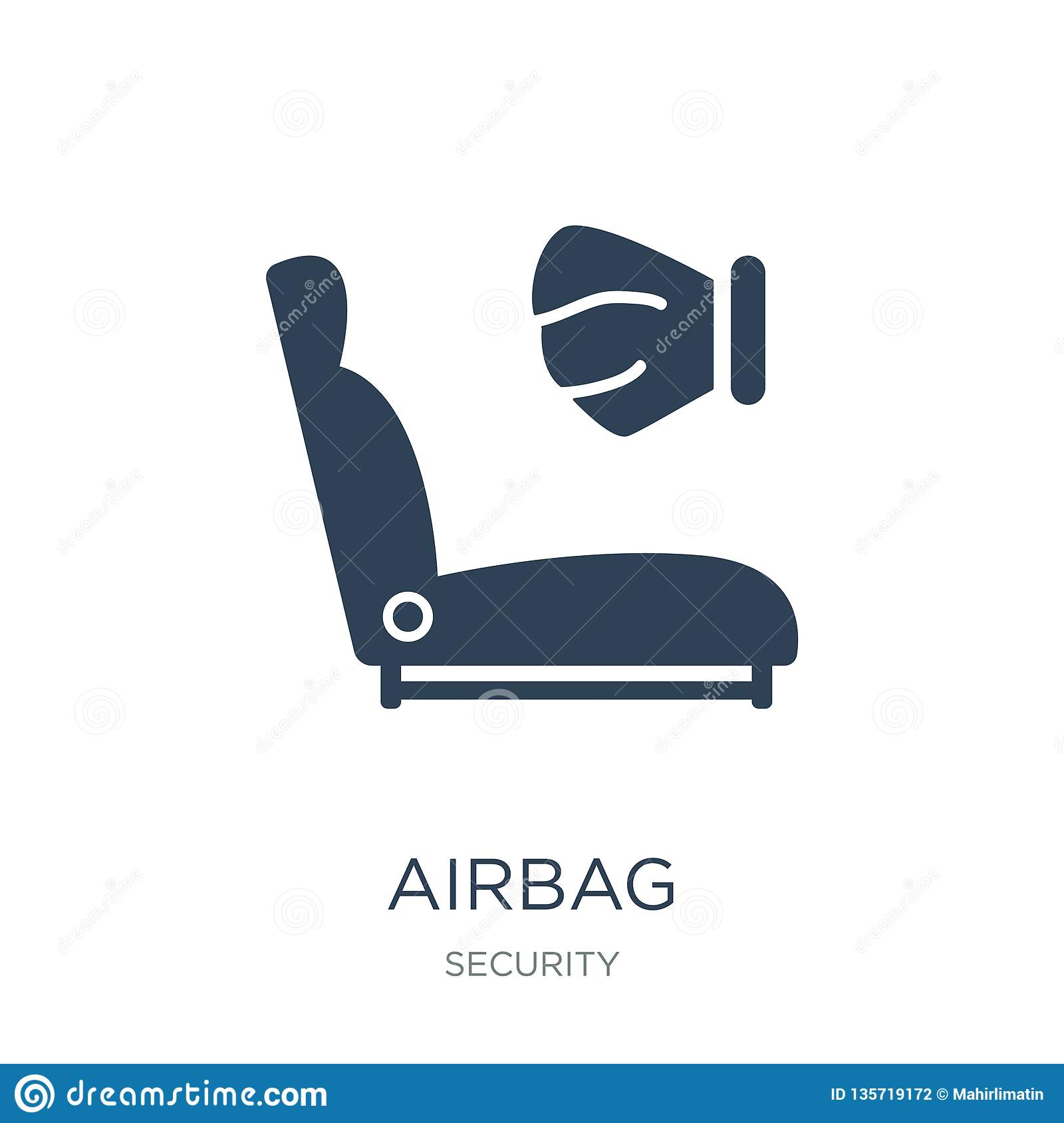 Airbag Icon In Car Stock Photo