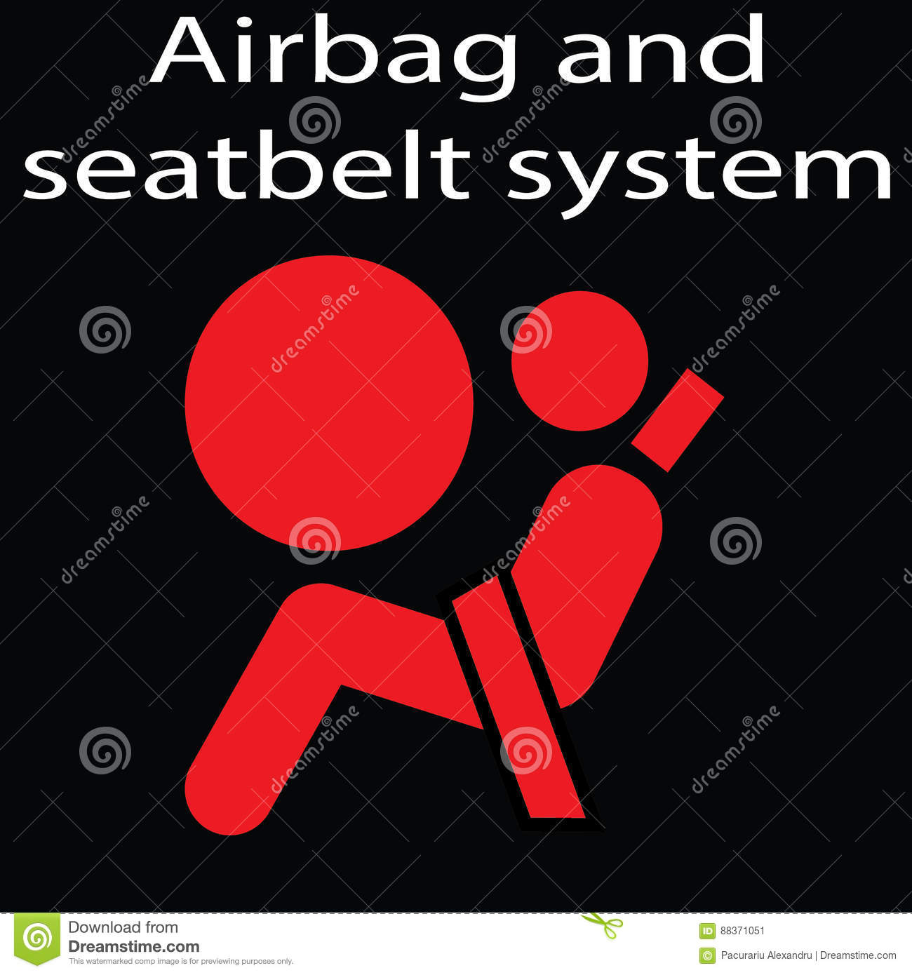 Airbag And Seatbelt Sign On A Black Background Warning Dashboard - Car image sign of dashboard