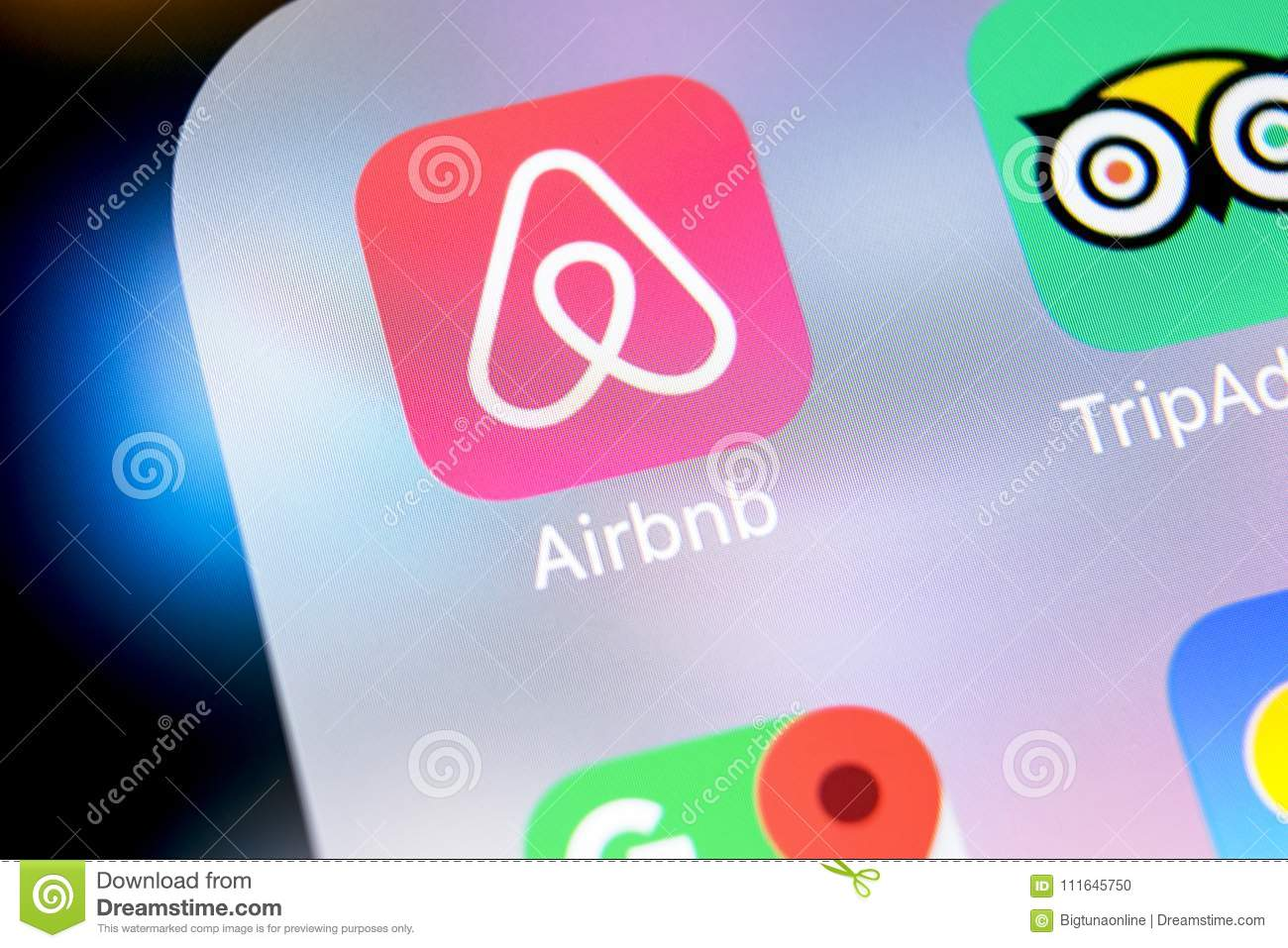 Airbnb Application Icon On Apple IPhone X Screen Close-up