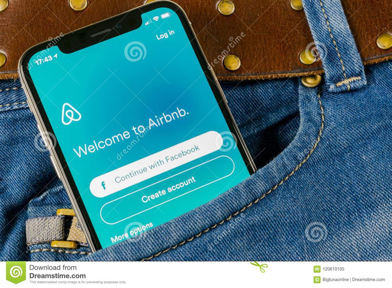 Airbnb Application Icon On Apple IPhone X Screen Close-up In