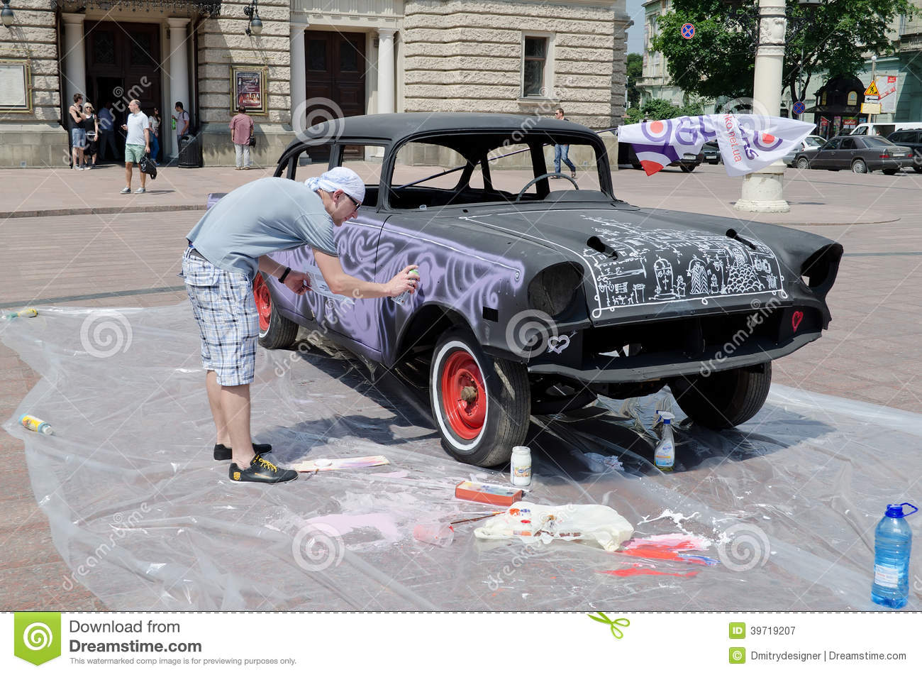 Airbrush Painting Retro Car On Display Outdoors In