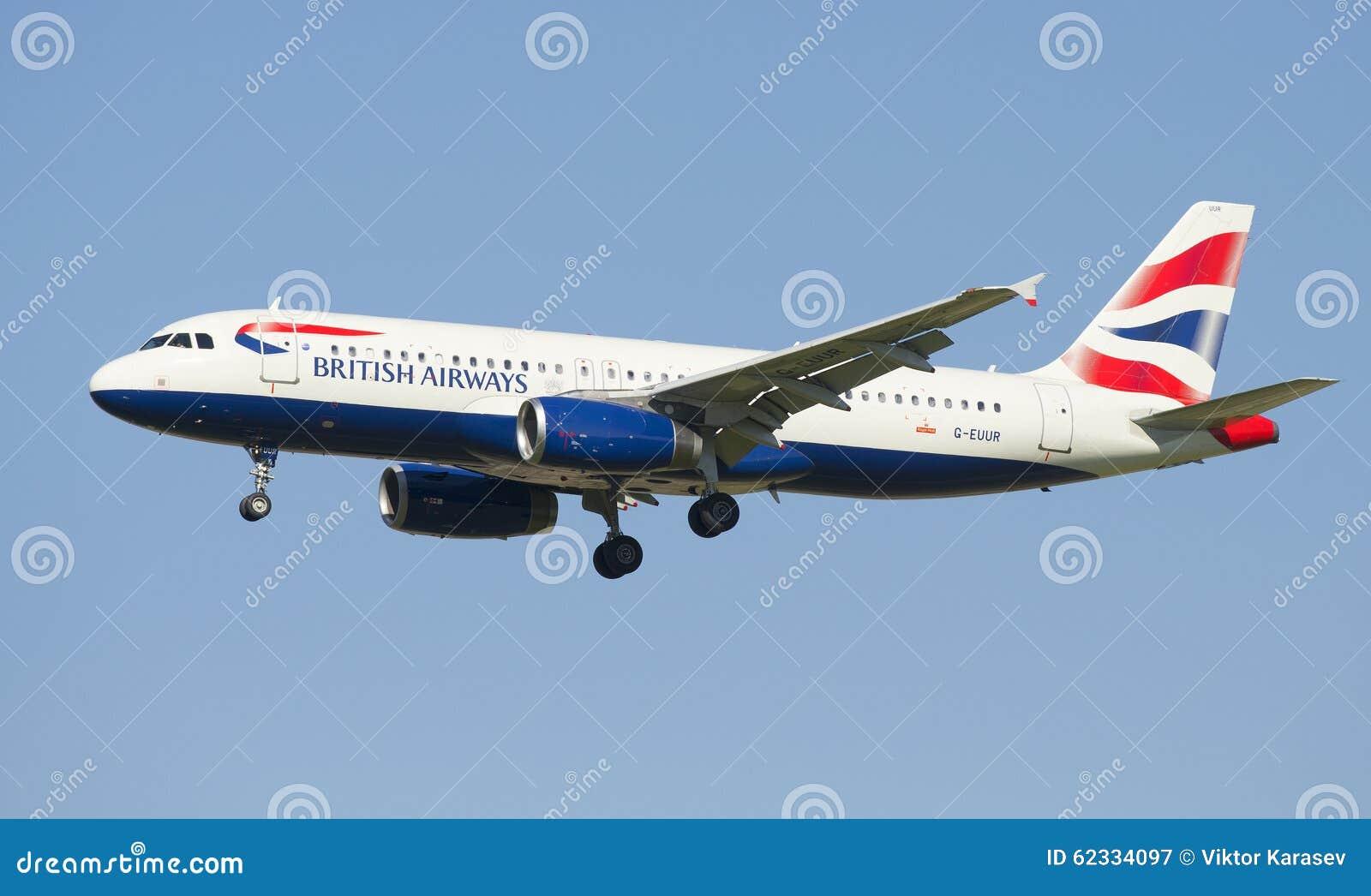 Airbus A320 (γ-EUUR) με τη British Airways πρίν προσγειώνεται στον αερολιμένα Pulkovo