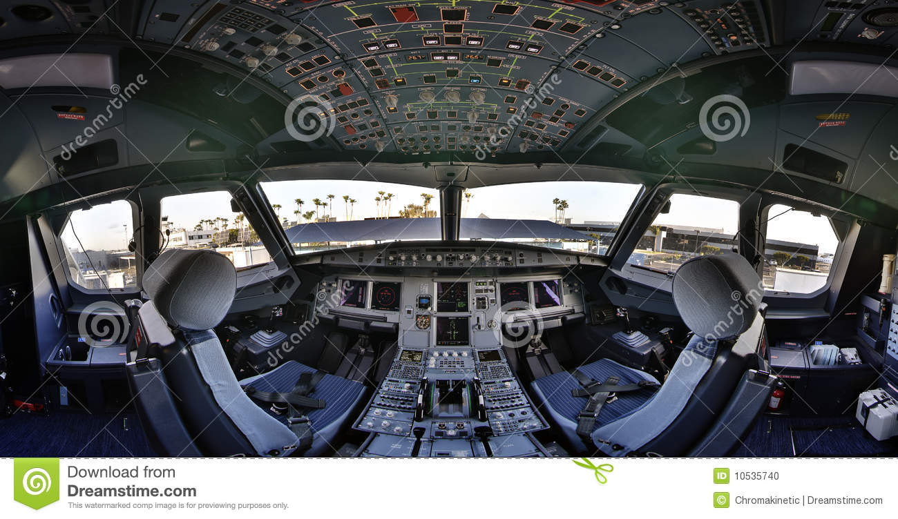 Airbus 320 Cockpit Flightdeck Stock Photo Image Of