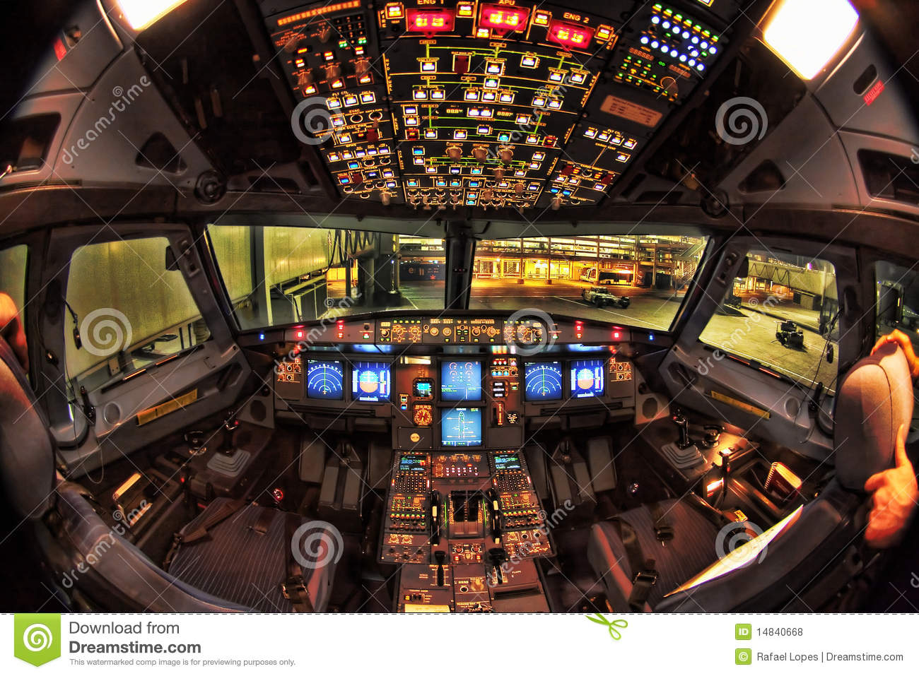 Airbus A330 Cockpit At Night Stock Photo - Image of ...