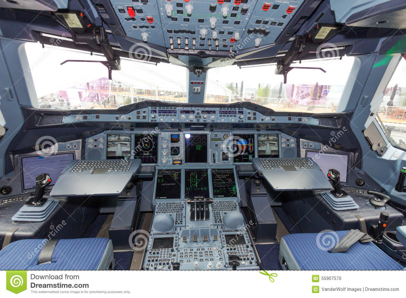 Airbus A380 Cockpit Stock Photo