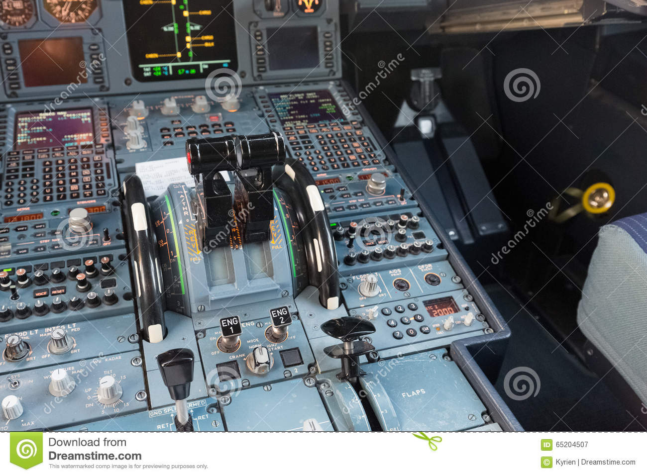 Airplane Throttle Levers : Airbus cockpit throttle lever stock image