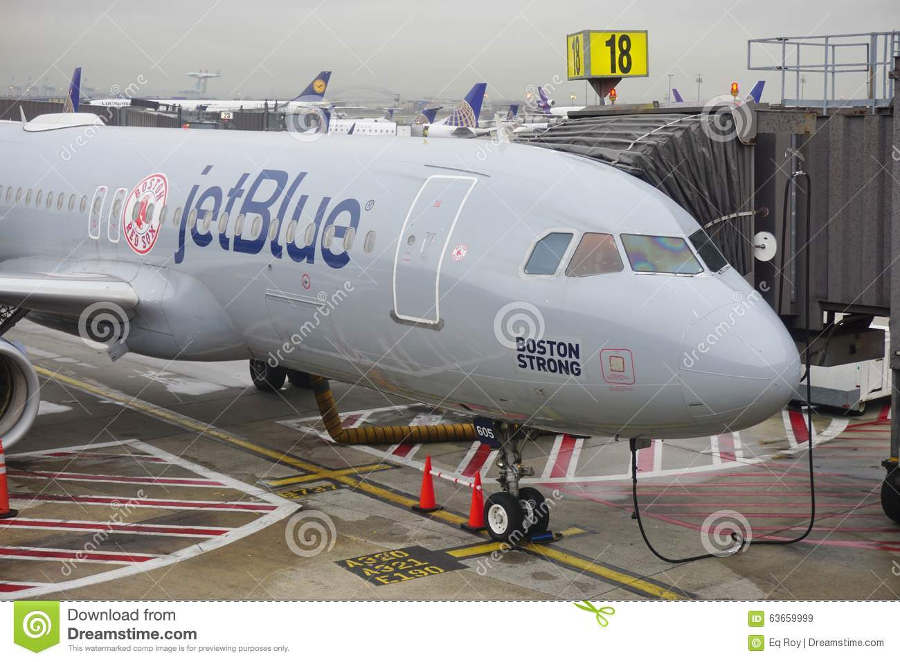 An Airbus A320 From Jet Blue (B6) Painted In A Boston Red