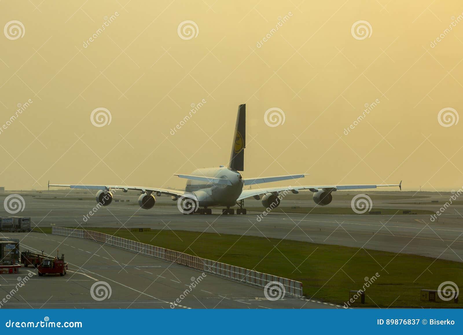 Airbus A380 Of Lufthansa Waiting For Take Off At Hong Kong
