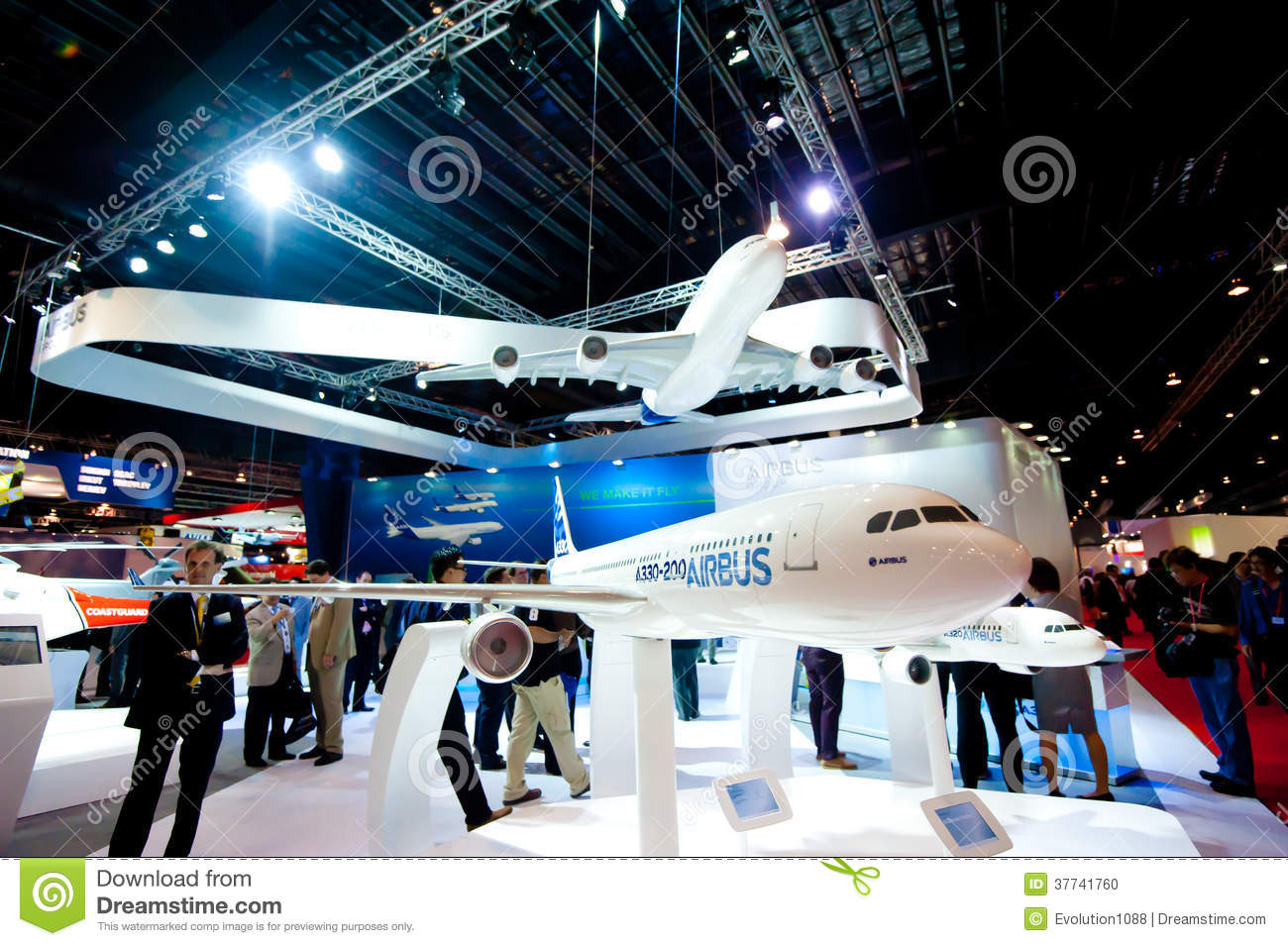 Exhibition Booth Singapore : Airbus model planes at the singapore airshow