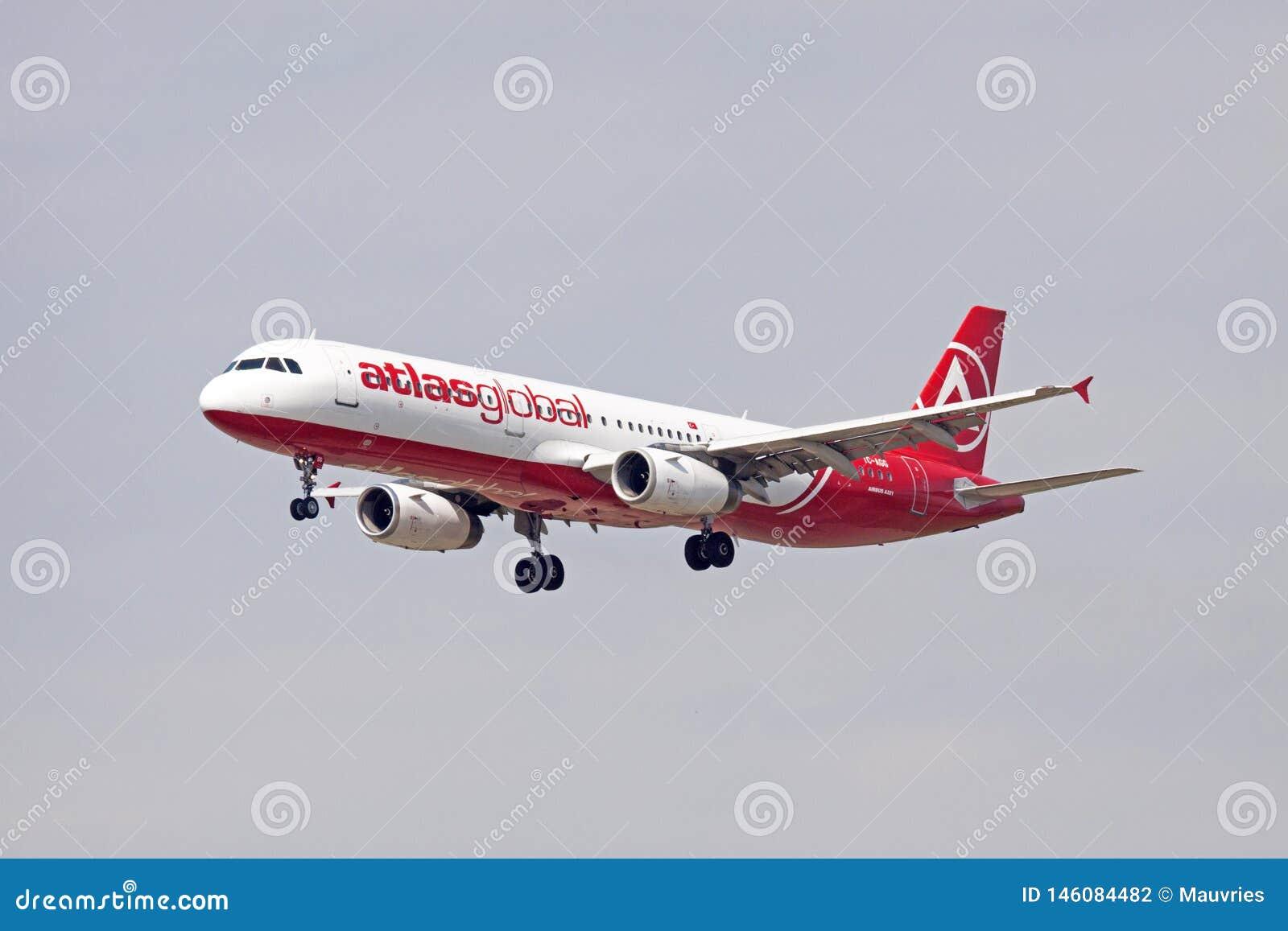Airbus singleAtlasglobal vermelho e branco 321