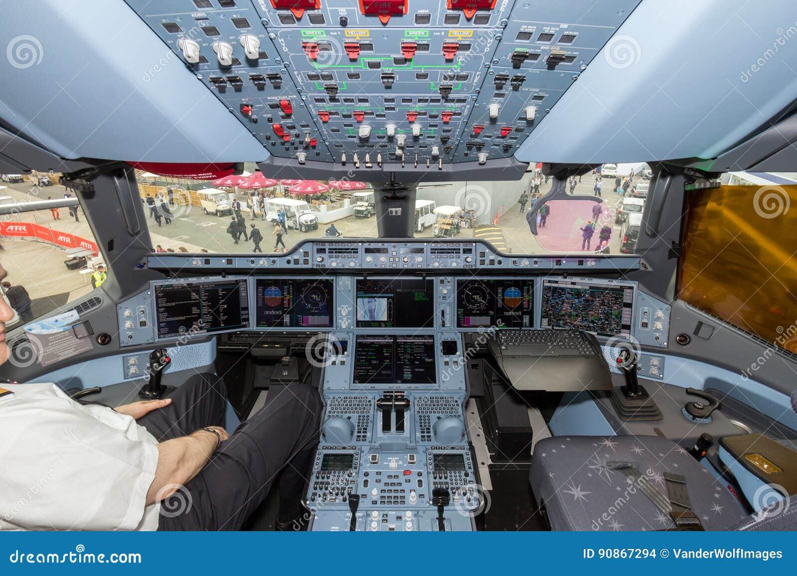 Airbus A350 XWB Airplane Cockpit Editorial Stock Image