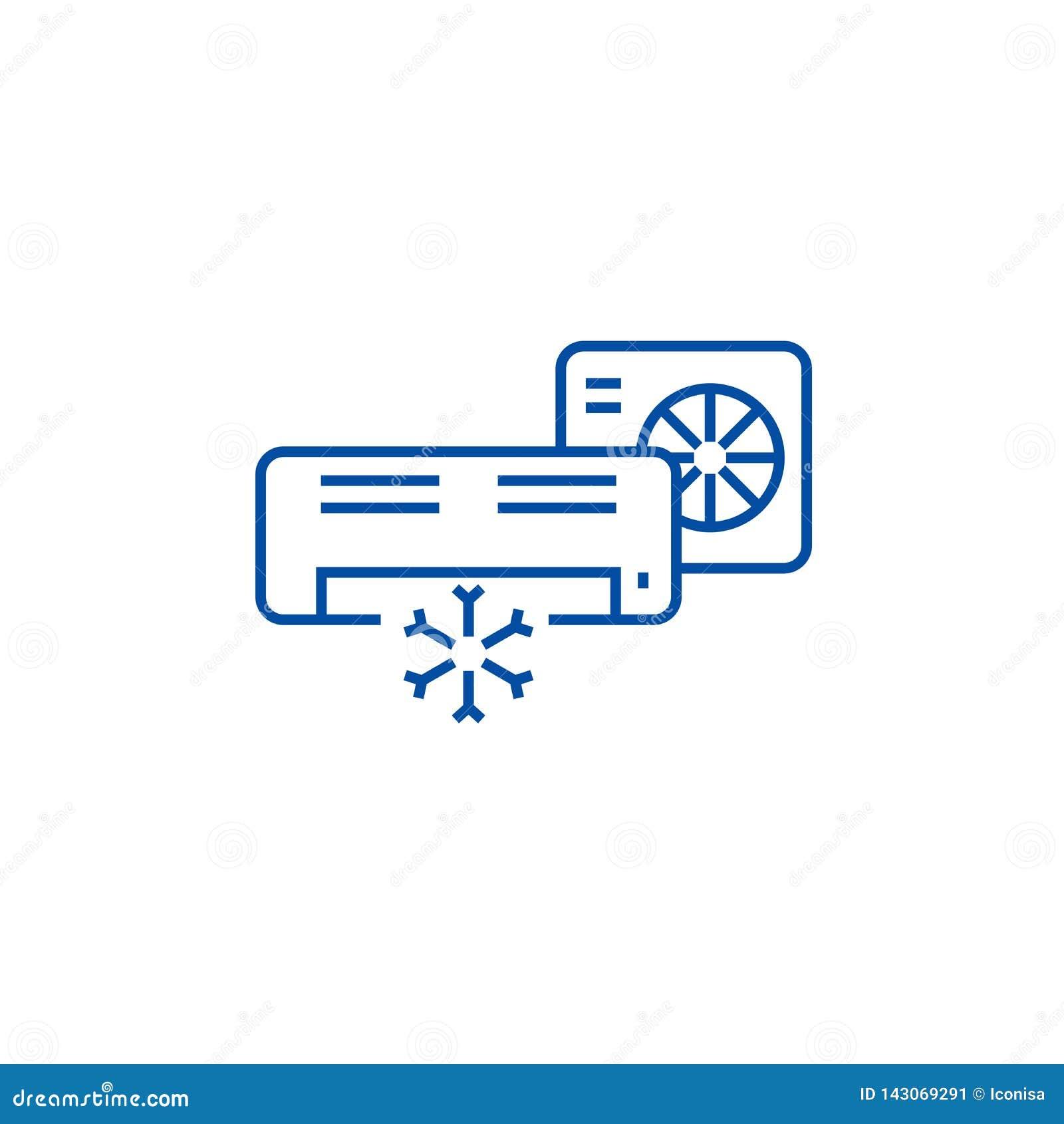 Airconditioner, gespleten het pictogramconcept van de systeemlijn Airconditioner, gespleten systeem vlak vectorsymbool, teken, ov