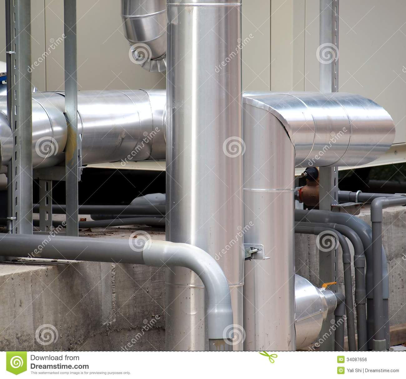Industrial Air Pipes : Airconditioning cooling pipes royalty free stock image
