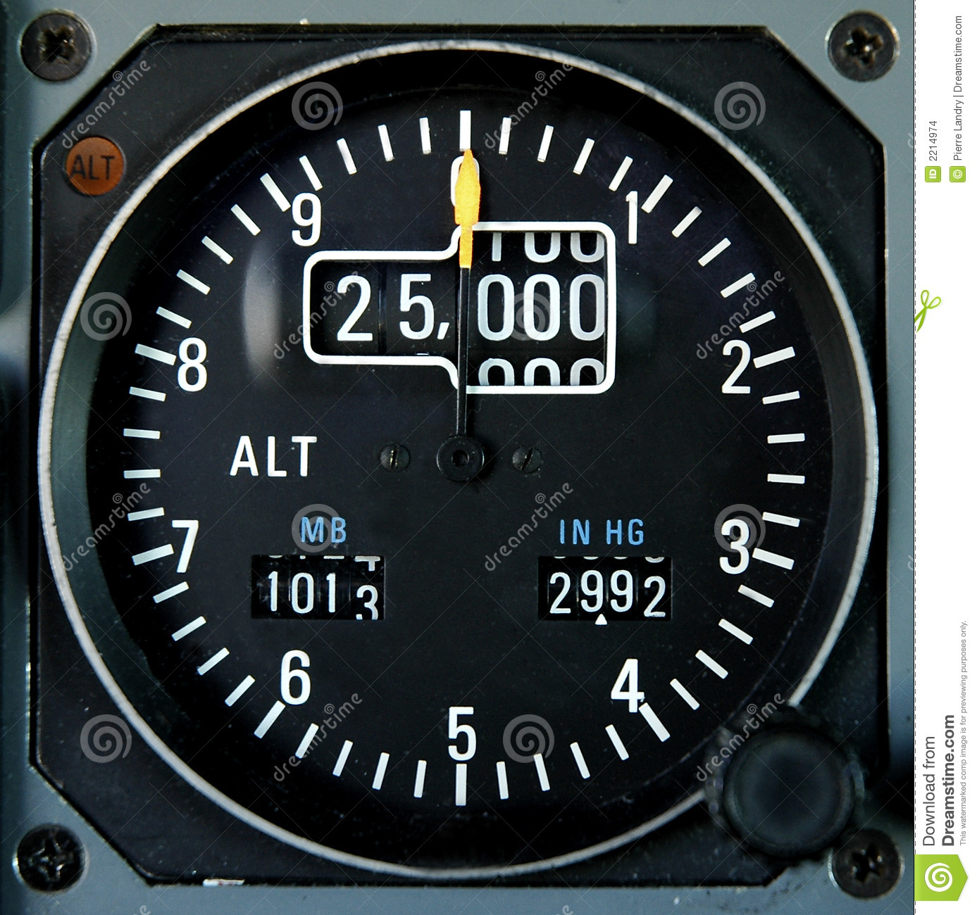 Analog Aircraft Altimeter Indicating A Cruise Altitude Of 25000 Feet